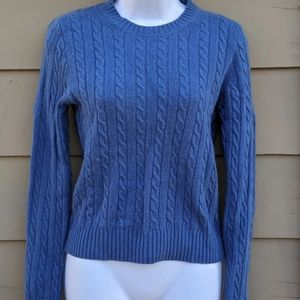 J crew blue cable knit sweater cashmere wool blend